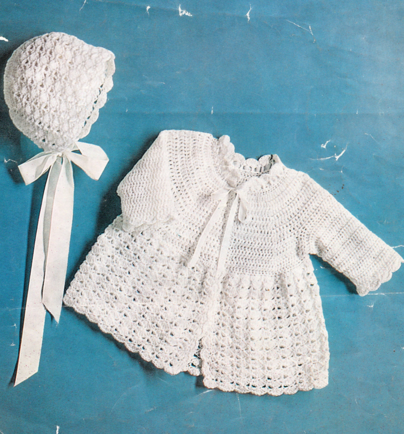 Crochet Bonnet Pattern Vintage Baby Matinee Coat And