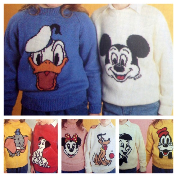 Mickey And Minnie Mouse Knitting Pattern Sweaters For Children Etsy