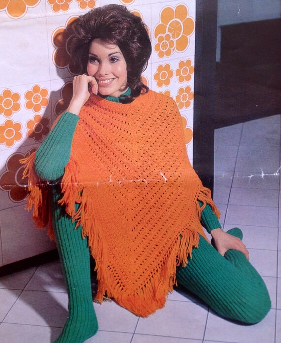 Poncho Knitting Pattern Womens Vintage Catsuit And Poncho Etsy