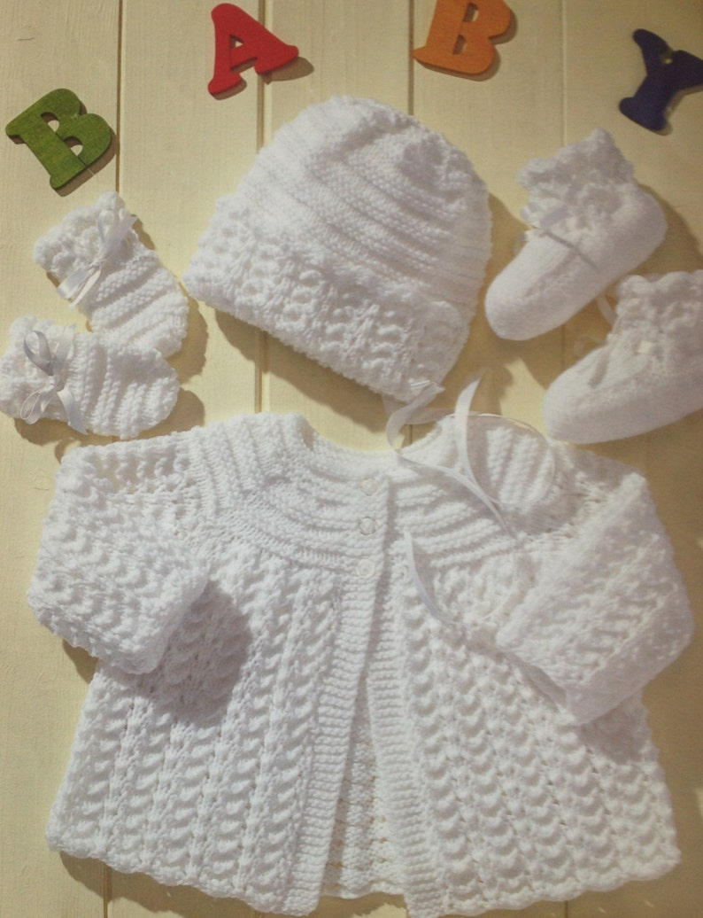 Baby Knitting Pattern Vintage Matinee Coat Bonnet Booties