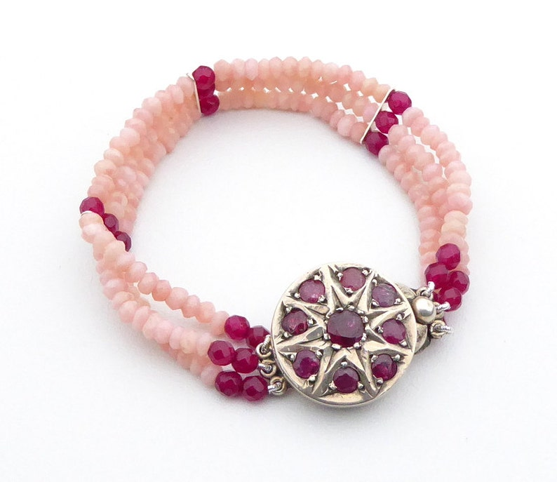 Bracelet Pink Opal and Ruby 3 Strand Bracelet With Vintage Sterling Silver Ruby Clasp