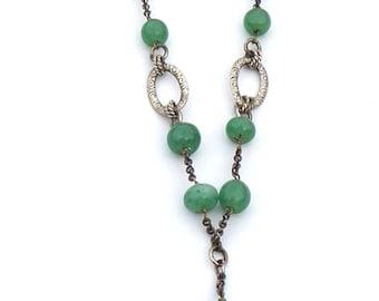 Necklace Art Deco Vintage Green Agate Lariat Necklace
