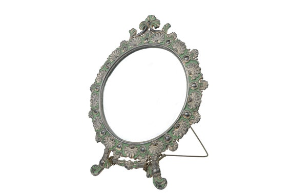 Vintage Vanity Mirror With Stand Round Mirror Ornate Etsy