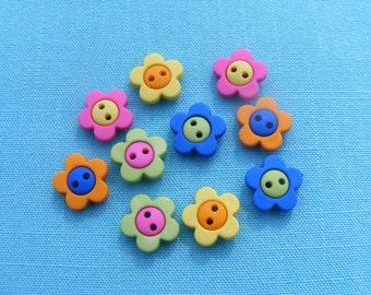 Hot Flower Button Embellishments (10 pieces)