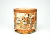 Finely Painted Satsuma Censer from Japan - Porcelain, Kimono, Butterfly, Flower, Japanese Maple, Plum Blossom