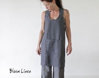 Linen apron, Pinafore, No tie apron, Natural linen