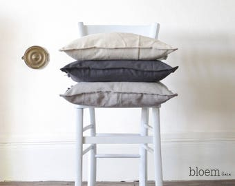 Linen pillow case, Pre-washed linen cushion cover with envelope closure