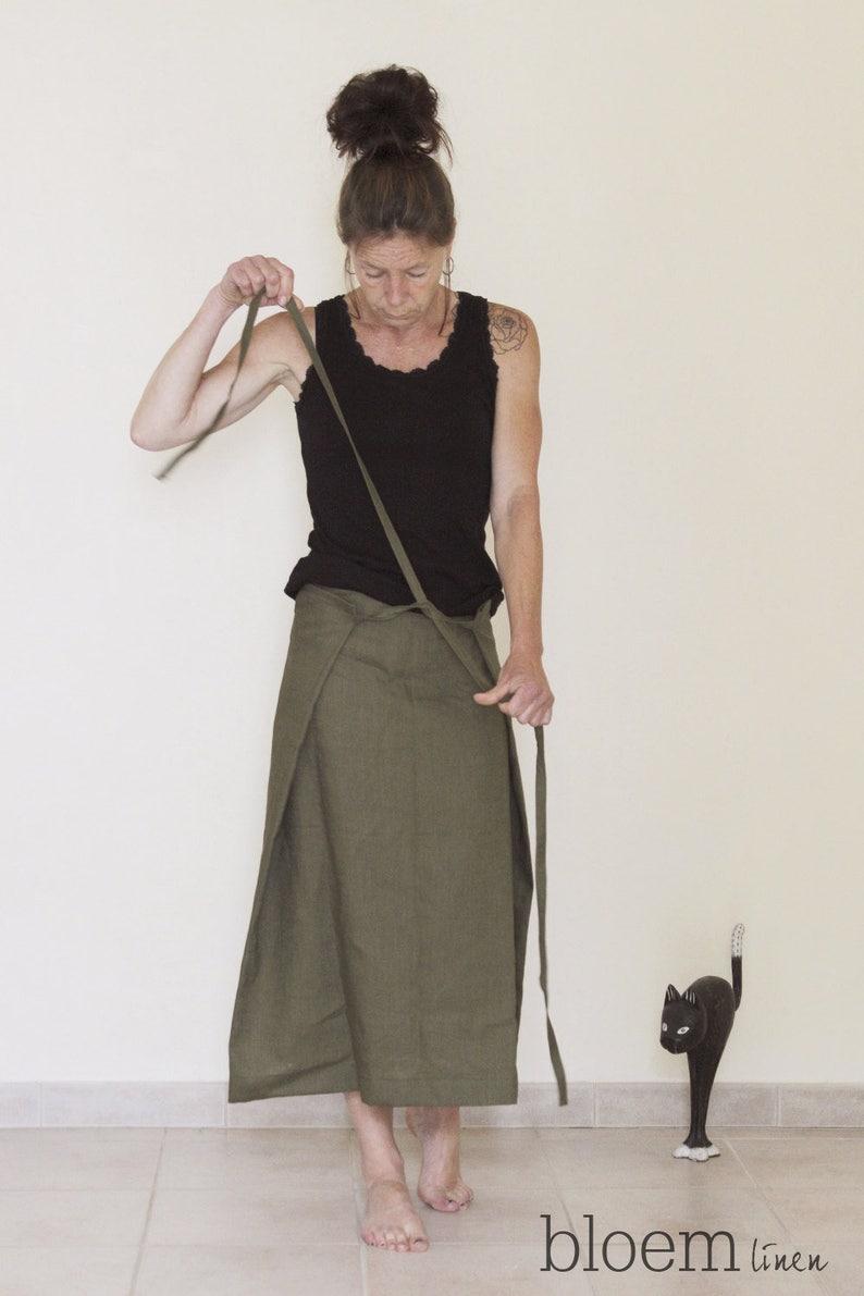 Eco friendly linen Custom made Linen skirt Wrap skirt Long skirt