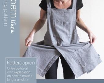 Sewing Pattern Split-leg Potters Apron, No tie cross back, Instant PDF Download