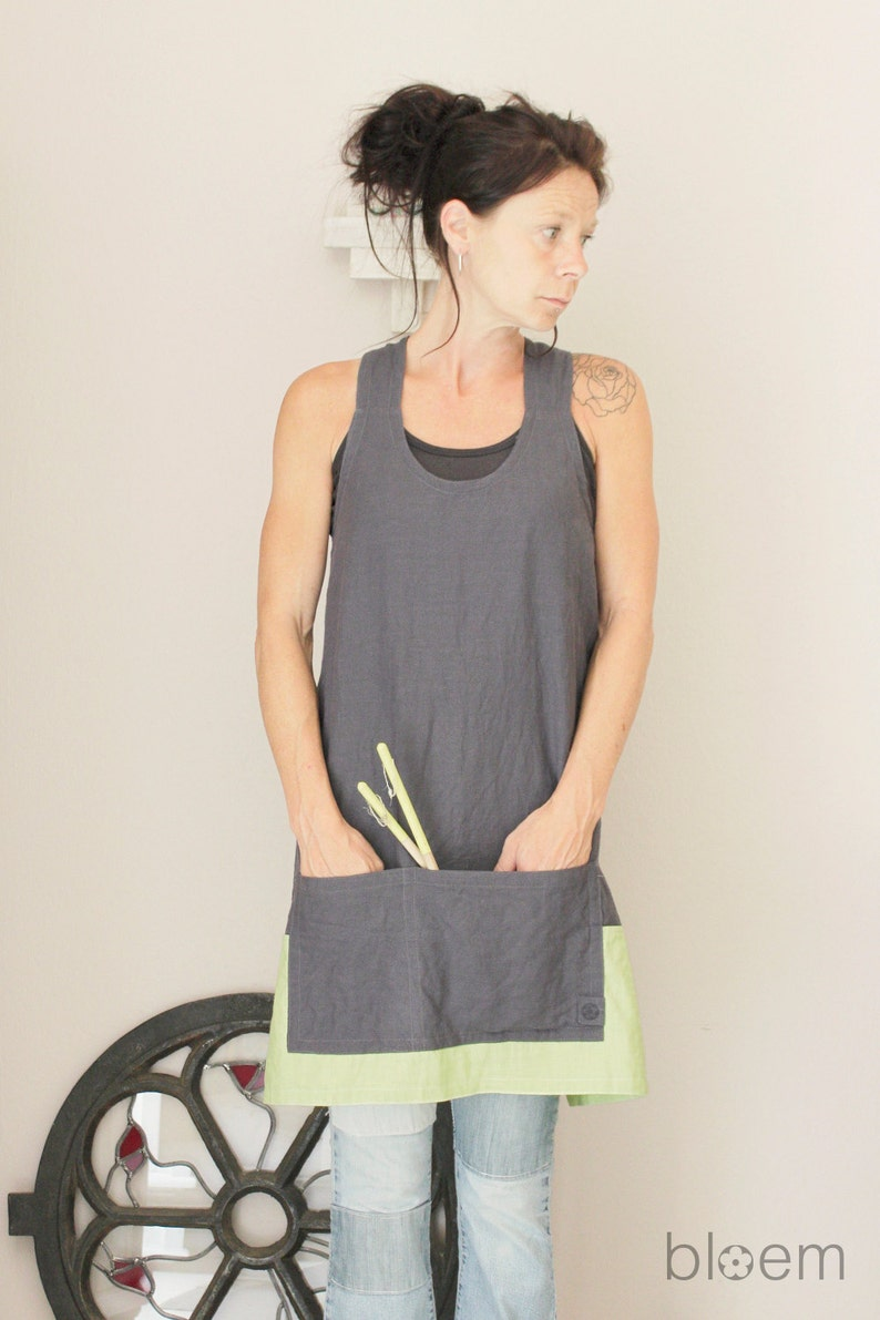 ac37f56868 Linen apron in two colors Made to order Cross back Pinafore