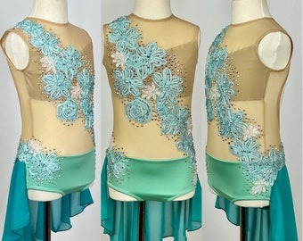 Competition Dance Costume Leotard with Skirt//Nude Mesh Bodice//Mint w Floral//