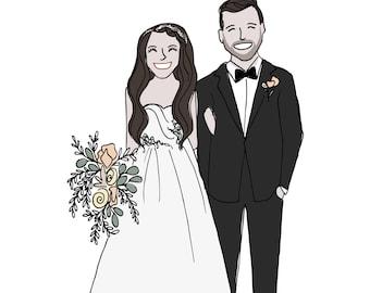 Bride and Groom Illustrated Portrait, Wedding Gift, Personalized Wedding Portrait, Anniversary Gift, Custom Portrait,