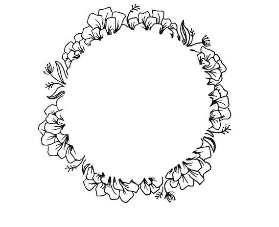 Floral Border SVG Monogram Frame SVG Floral Frame Cut File | Etsy
