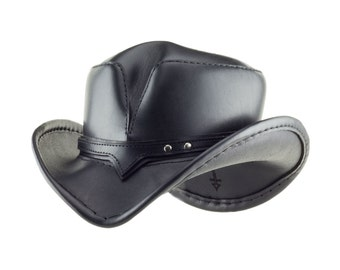 932d888393964 Black Leather Apocalyptic Western Hat