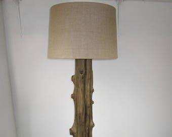 Unique Driftwood Floor Lamp, Natural Rustic Decor From Antique Riverwood