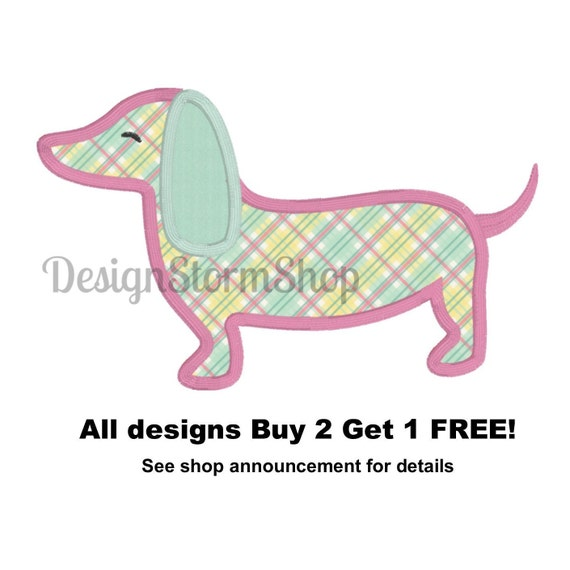 Dog Applique Design Dachshund Machine Embroidery Design Etsy