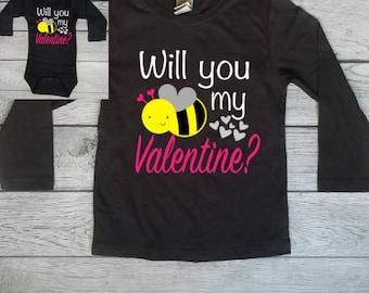Girl Valentine Shirt - Be Mine - Bee Mine - Bee Mine Valentine - Bee Mine Shirt - Toddler Valentine Shirt - Baby Valentine Bodysuit - Outfit
