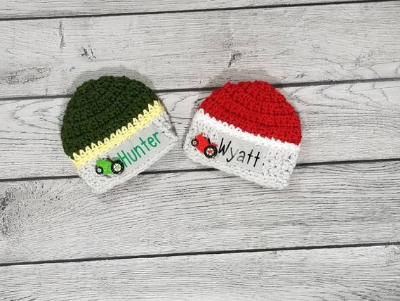 Baby Tractor Hat Baby Farmer Hat Personalized Baby Hat  af53fc36e81