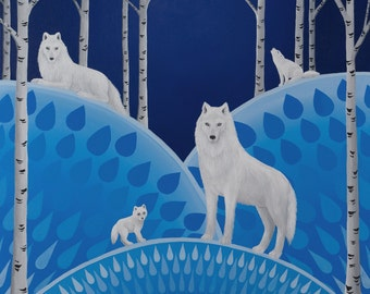 Wolves with Birch Trees fine art print