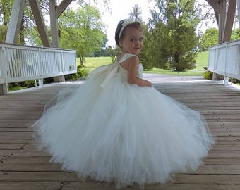e724ab65c9f Flower girl dress - Tulle flower girl dress - Ivory Dress - Tulle dress-Infant Toddler  - Pageant dress - Princess dress - Ivory flower dress