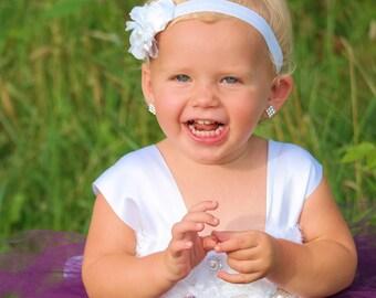 Flower girl dress - Tulle flower girl dress - Plum Dress -Tulle dress-Infant/Toddler -Pageant dress -Princess dress-Plum/White flower dress