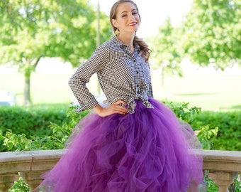 Tulle skirt - Plum tulle skirt - Tea length tulle skirt - Tulle skirt- Bridal tulle skirt- Wedding tulle skirt- Wedding dress- Formal skirt