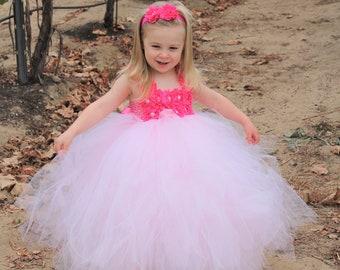 Flower girl dress - Tulle flower girl dress - Pink Flower Girl Dress - Tulle dress - Pageant dress - Princess dress - Pink Dress