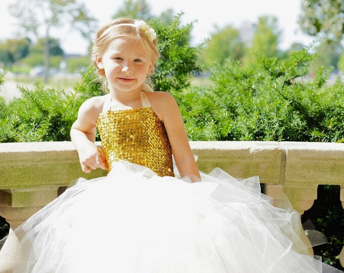 Featured listing image: Flower girl dress -Tulle flower girl dress - Ivory Flower girl dress -Tulle dress- Pageant dress -Princess dress -Ivory dress -Toddler dress