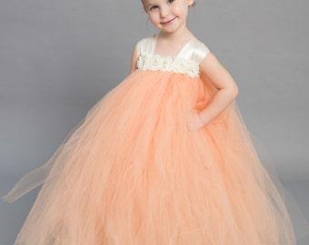 Flower girl dress - Tulle flower girl dress - Ivory Dress - Tulle dress-Infant/Toddler - Pageant dress - Princess dress -Peach  flower dress