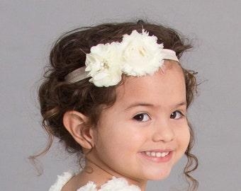 Ivory Headband- Newborn Headband- Baby Headband-Flower Headband - Infant Headband- Christening Headband- Wedding Accessory-Pageant Headband