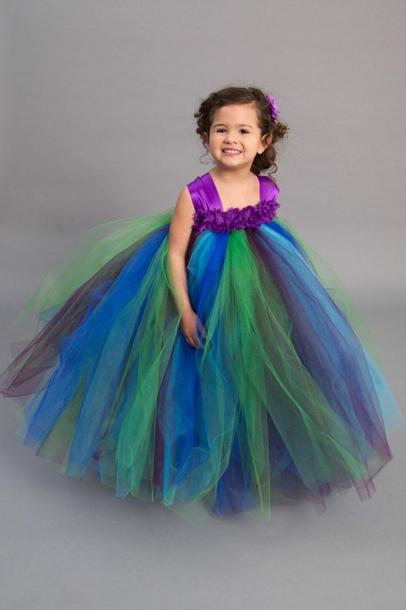 16d0563938 Flower girl dress Tulle flower girl dress Peacock Dress