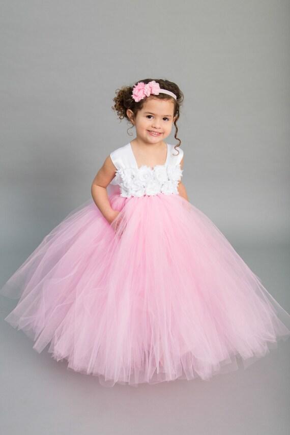 Flower girl dress tulle flower girl dress pink dress etsy image 0 mightylinksfo