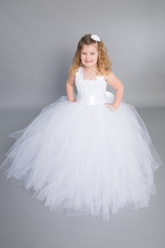 Flower girl dress tulle flower girl dress First Communion ...