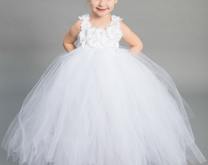 Featured listing image: Flower girl dress - Tulle flower girl dress - White Dress - Tulle dress-Infant/Toddler - Pageant dress - Princess dress - White flower dress
