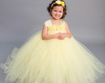 Flower girl dress - Tulle flower girl dress - Yellow Dress - Tulle dress-Infant/Toddler - Pageant dress - Princess dress - flower dress