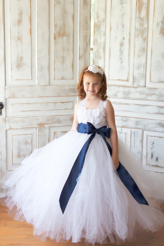 Flower Girl Dress Tulle Flower Girl Dress White Dress Etsy