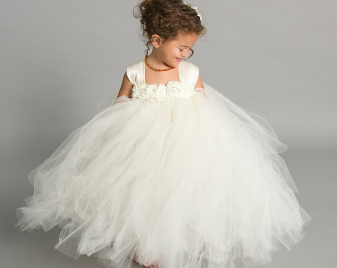 Ivory Tulle Flower Girl Dress - Tulle Tutu Dress - Girls Pageant Dress - Multiple Sizes Available - Infant To Girls Sizes and Lengths