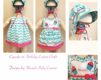 Cupcake First Birthday Outfit/ Baby Bonnet/ Cupcake apron/ Cupcake Apron Dress/ First Birthday Outfit