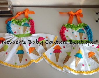 Ice Cream Cone Apron Child Size/ Ice Cream Party/ Sprinkles Birthday/ Girl Party/ Sweet Candy Party/ Applique Apron/ Sweetheart Apron