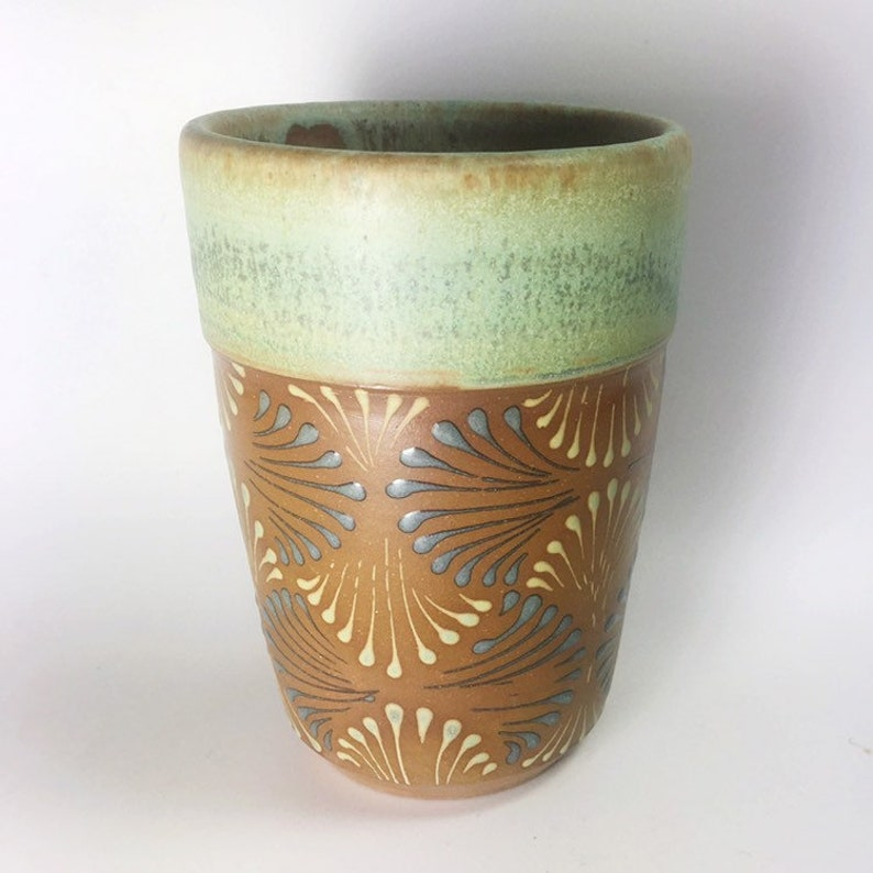 553f0e6b335 Small Handmade Ceramic Tumbler Juice Cup in Green Glaze with Geometric  Scallop Pattern. Handleless Coffee or Tea Cup, Wine Cup