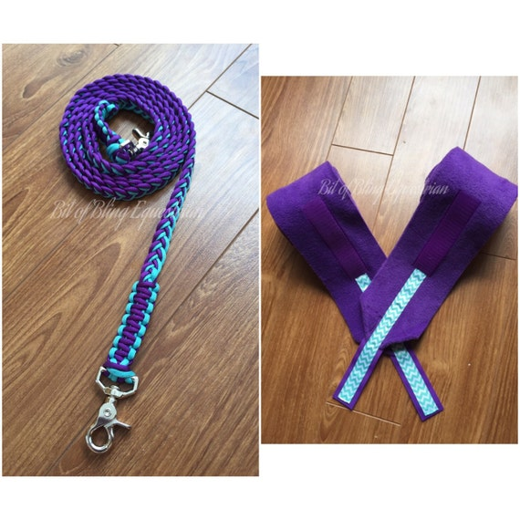Day For Night Chevron Reins and Wraps Set - Purple and Turquoise