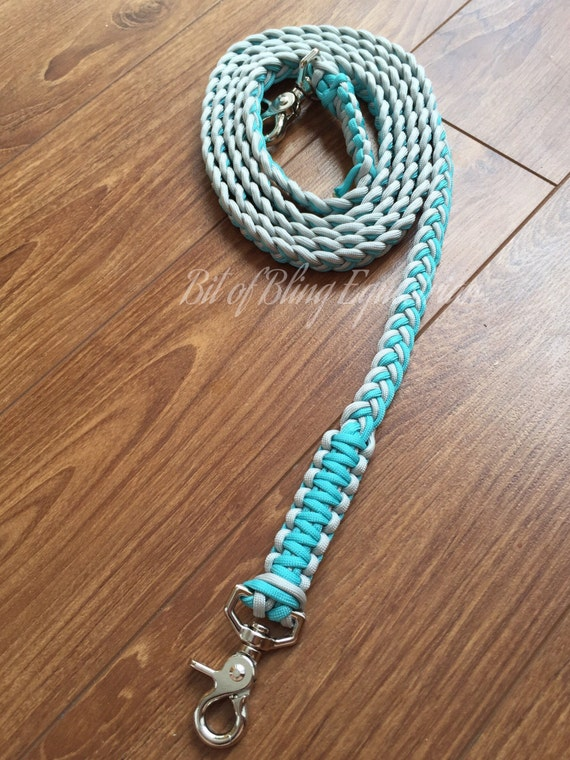 The Lone Gunman Paracord Reins - Silver and Turquoise - Ready To Ship