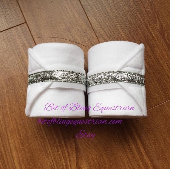 2 Custom Polo Wraps with Thin Glitter Ribbon
