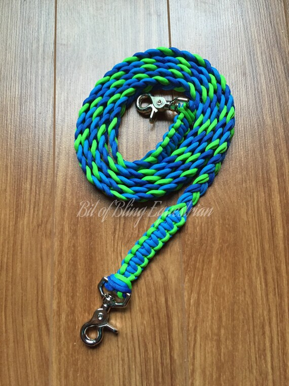 Under the Sea Paracord Reins - blue amd lime