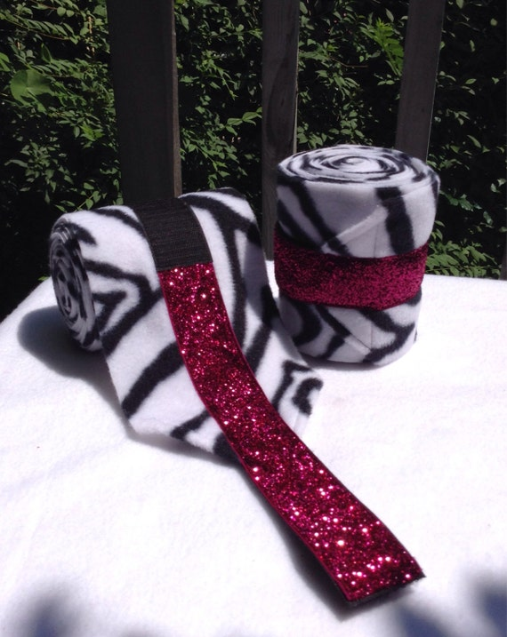 2 Custom Zebra Bling Polo Wraps