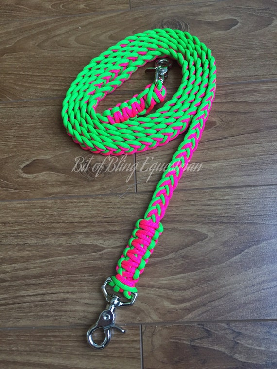 Electric Melon Paracord Reins - Bright Pink and Lime Green