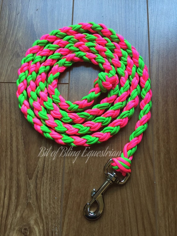 Electric Melon Lead Rope - Bright Pink and Lime Green- 6.5 feet ready to ship.