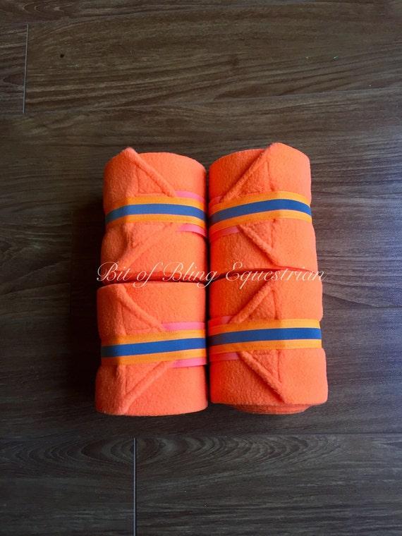 4 Neon Polo Wraps with Reflective Glo Ribbon - Orange or Lime