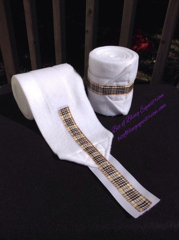 2 Custom Polo Wraps with Beige Plaid Ribbon