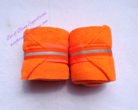 2 Neon Polo Wraps with Reflective Glo Ribbon - Orange or Lime